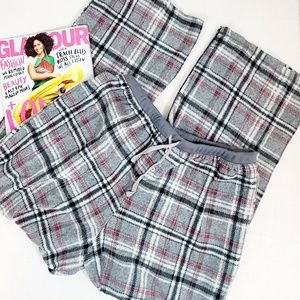 Croft & Barrow Fuzzy Sleep Pants Grey Plaid